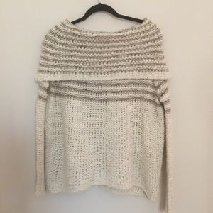 Free People Fold Over Off The Shoulder Sweater